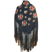 Vintage Silk Embroidered Piano Shawl Scarf Fall Colors