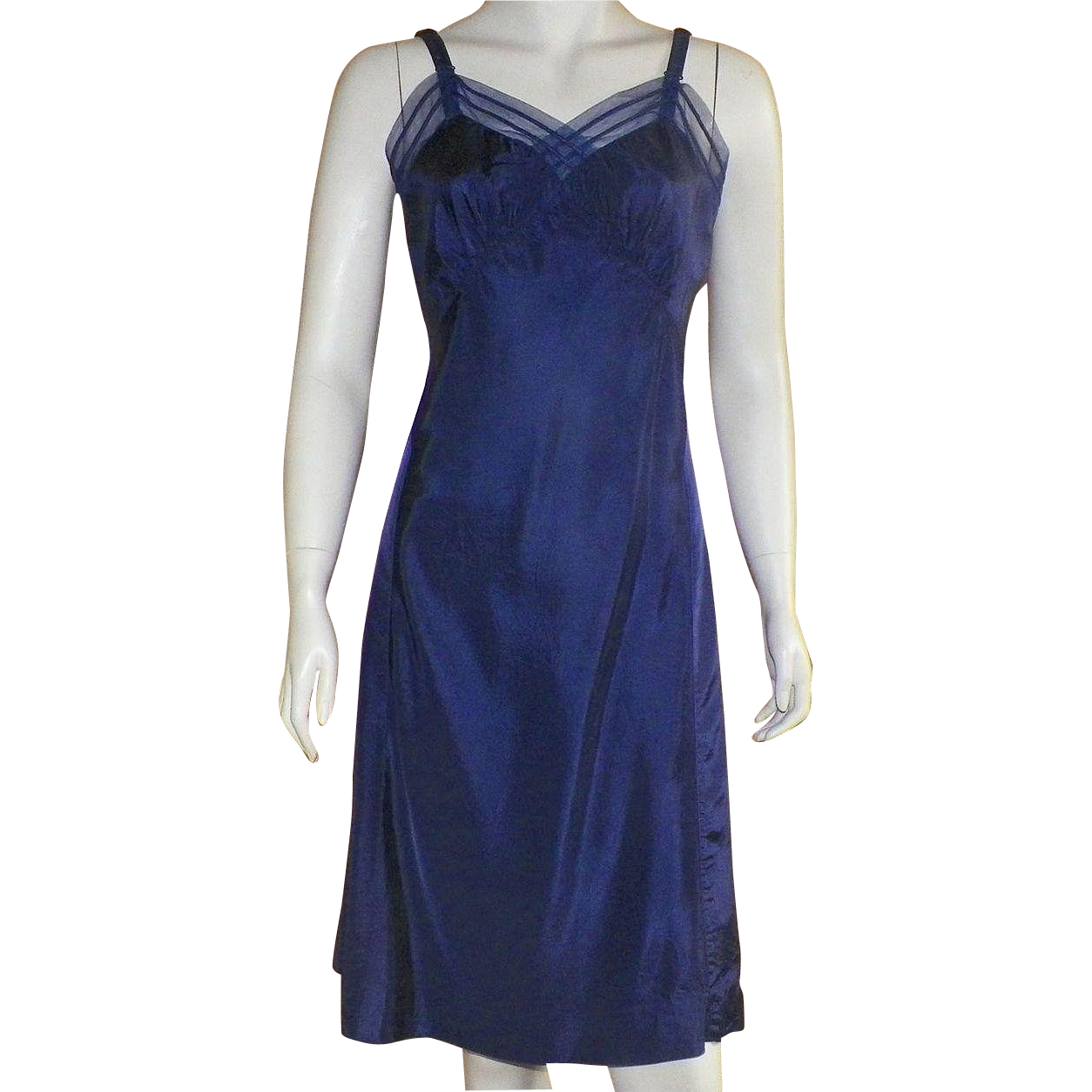 Vintage 1950's Navy Blue Rayon Full Slip By Miss Swank 34