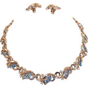 Vintage Crown Trifari Light Blue and Clear Rhinestone Necklace Earrings Set