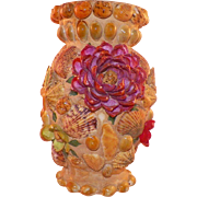 Vintage Folk Art Seashell  Memory Vase