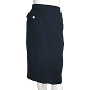 Vintage 1950's Black Wool Pencil Skirt