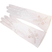Vintage Never Used White Leather Gloves With Cut Work Designs