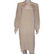 Vintage Chinese Beige Silk Embroidered Dress