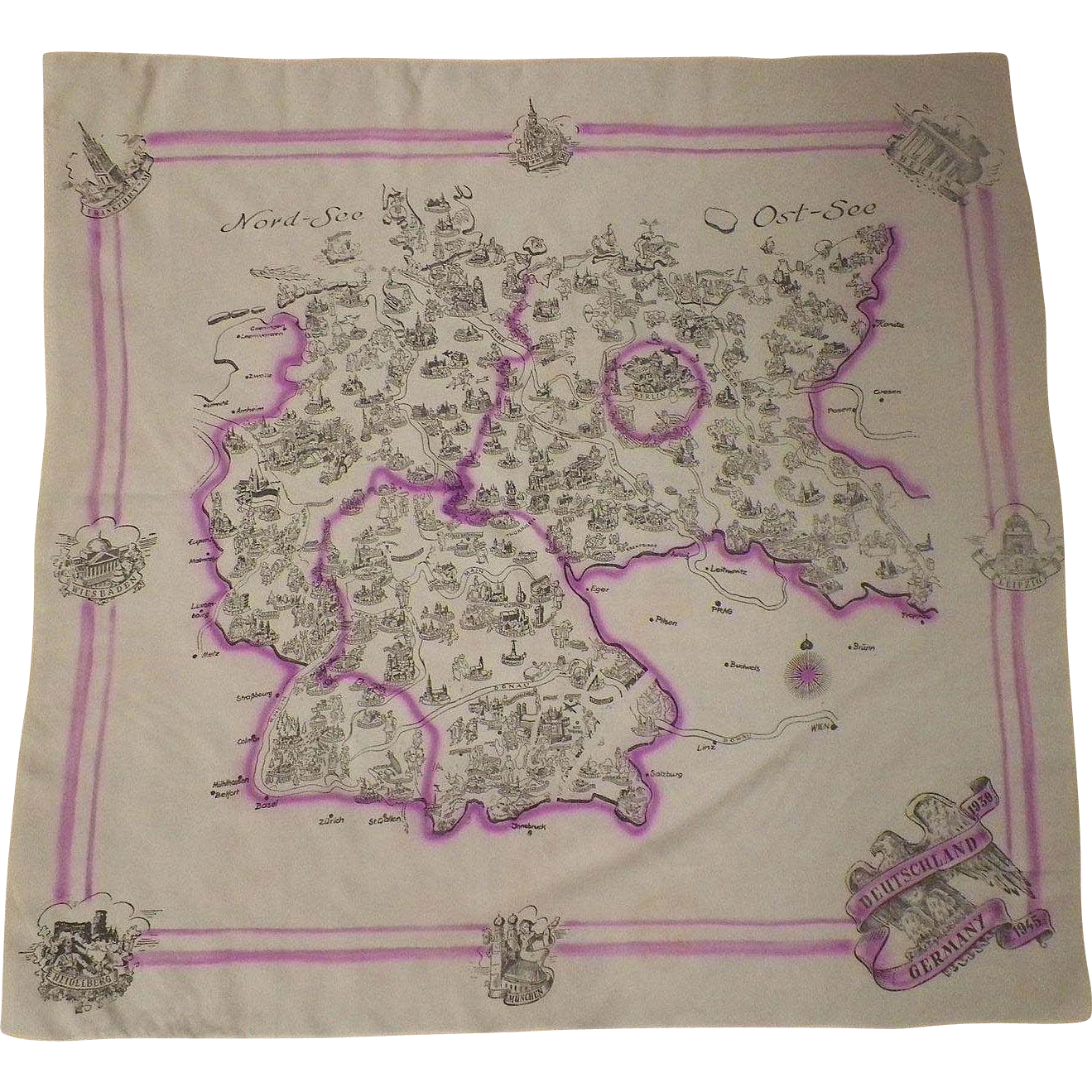 Vintage World War II Germany Silk Scarf 1939-1945
