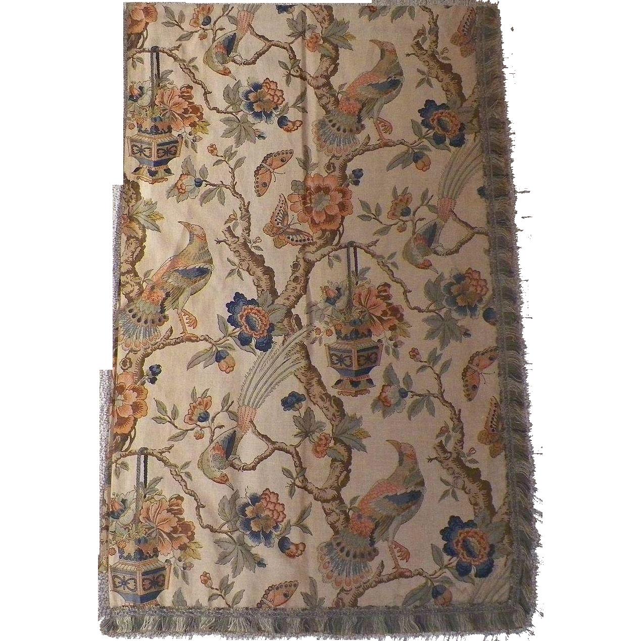 Pair Of Vintage Natural Linen Drapery Curtain Panels Asian Motif