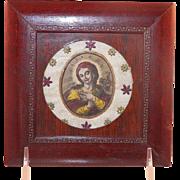 Vintage Hand Colored Engraving Devotional Saint Framed