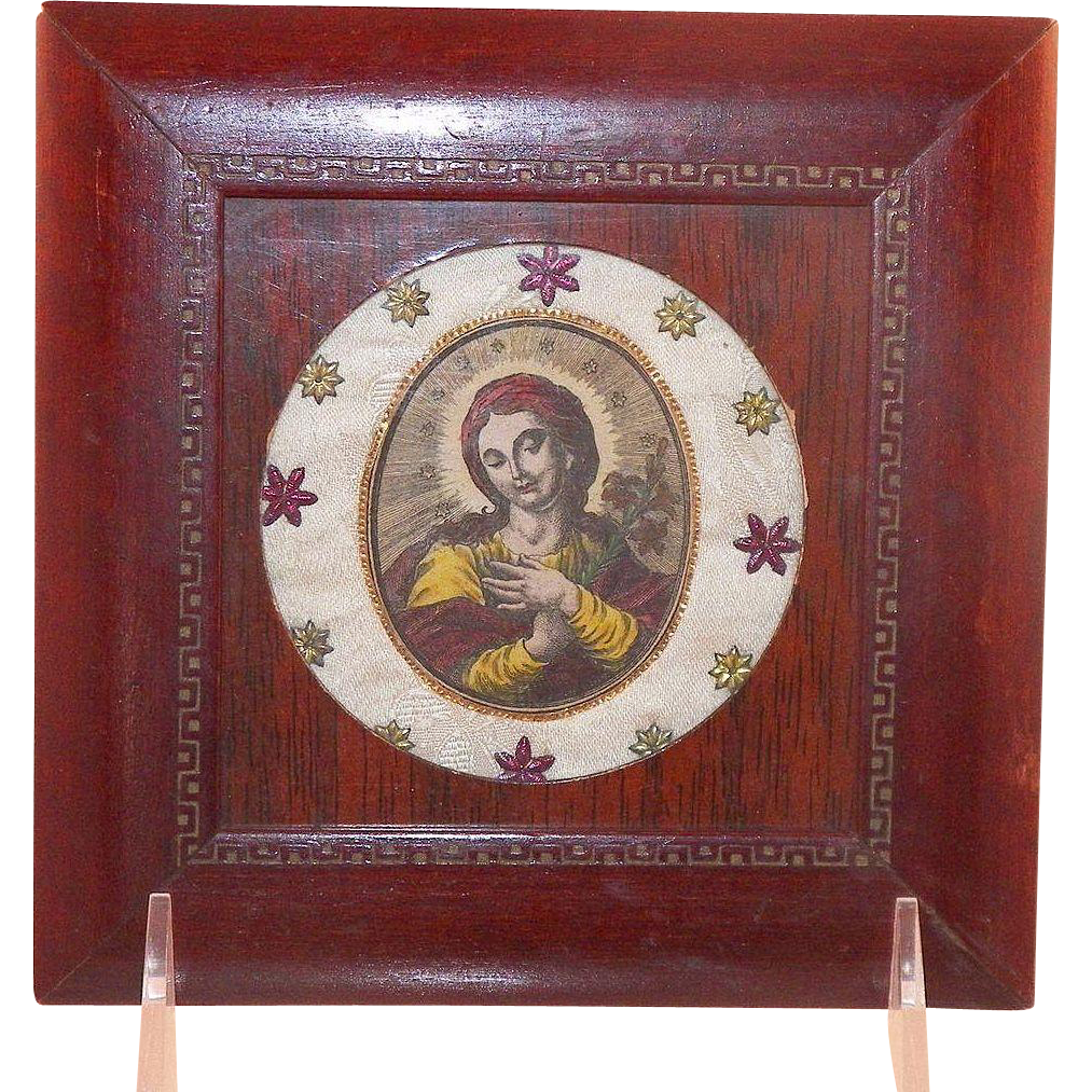 Vintage Hand Colored Engraving Devotional Saint Framed