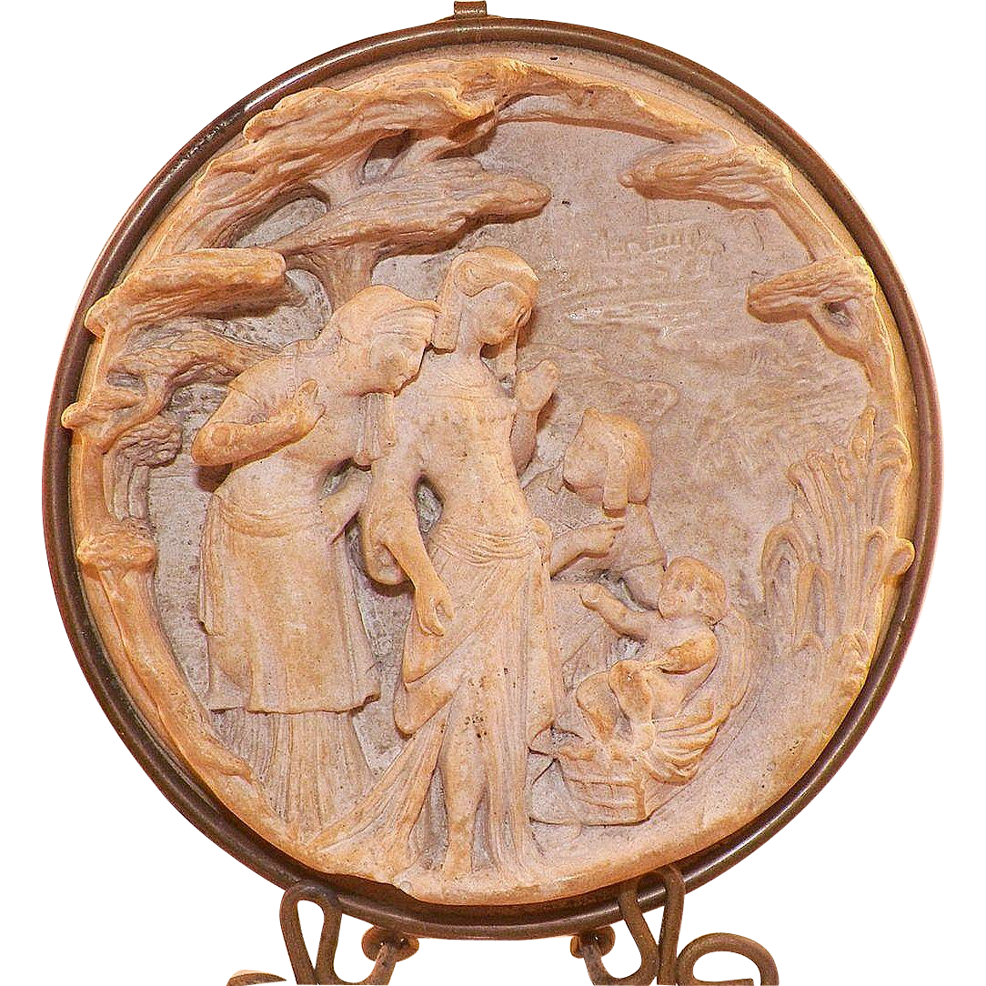 Antique 19th Century French Pipe Clay Carved Religious Scene Framed