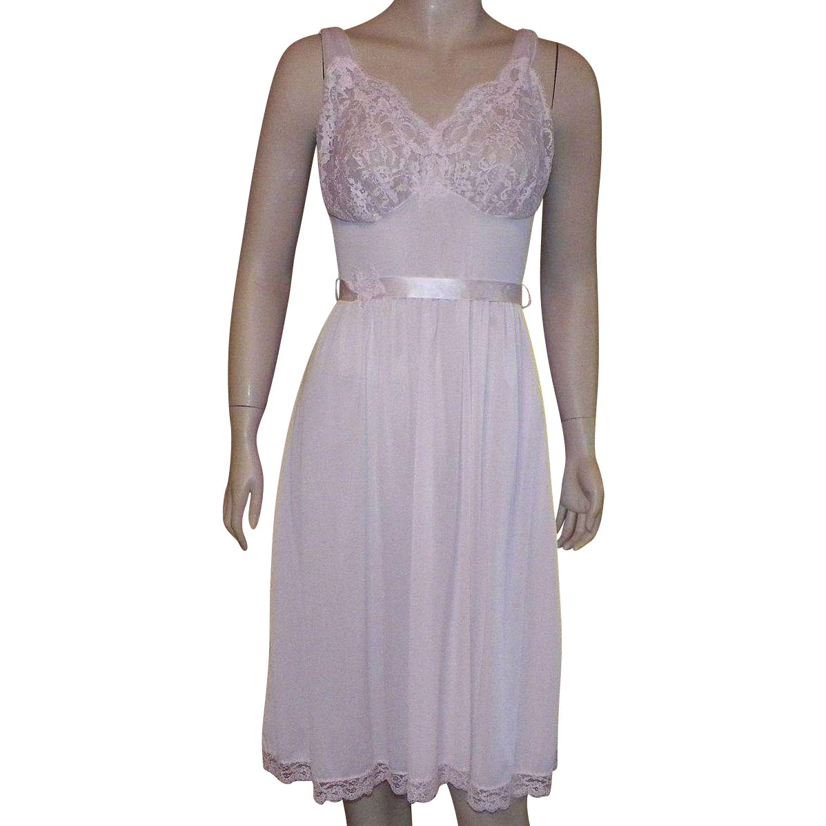 Vintage Pink Flirty Nylon and Lace Short Nightgown Negligee