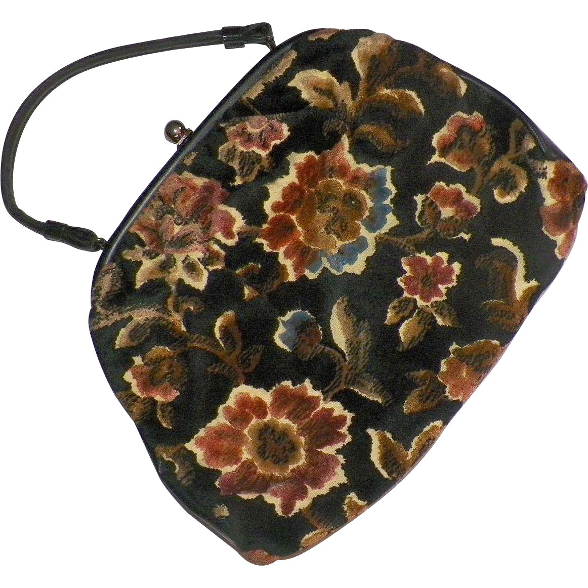 Vintage 1960's Floral Tapestry Cut Chenille Purse