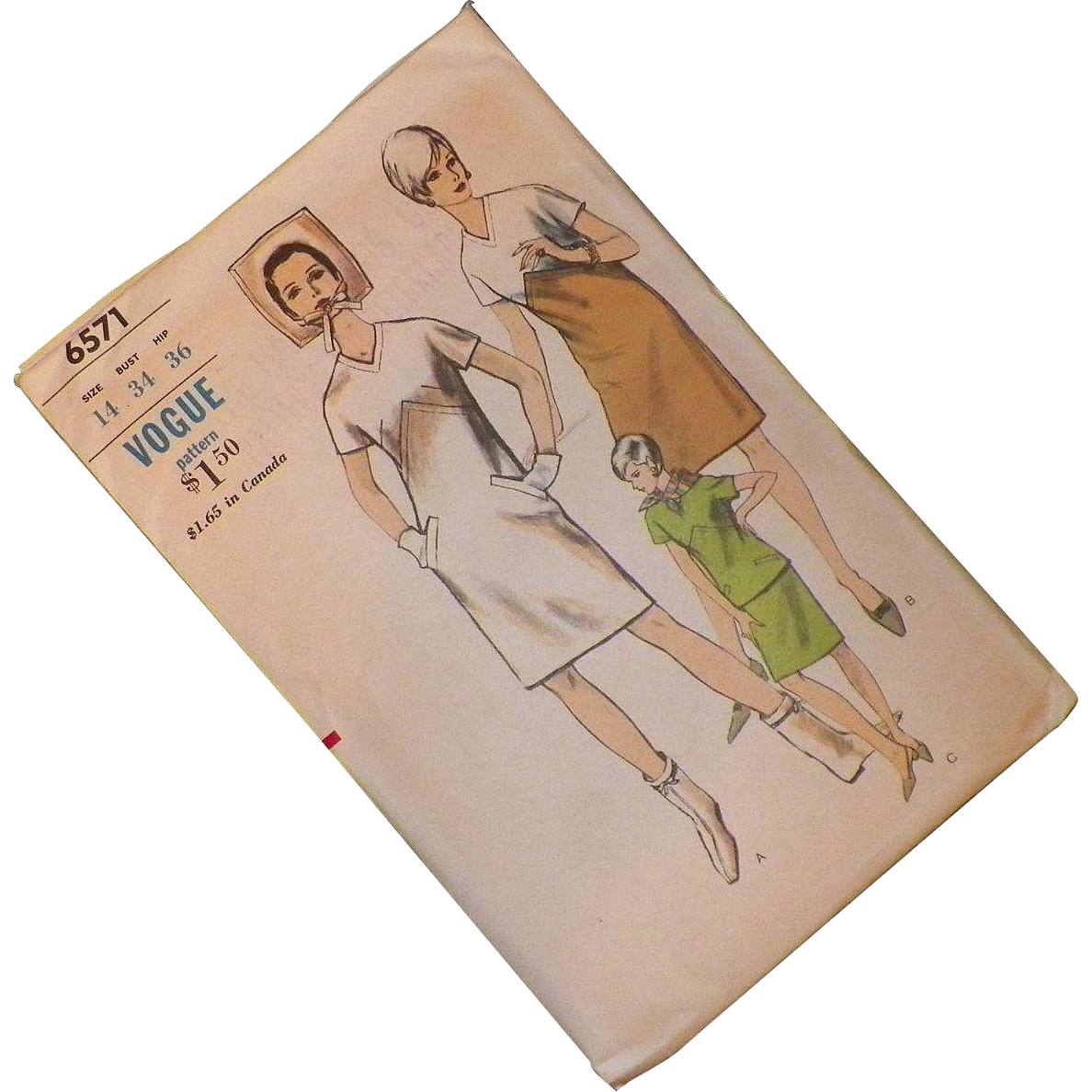 Vintage 1960's Vogue Pattern Boxy Shift Or Two Piece Dress Uncut