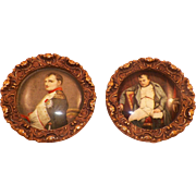 Vintage Pair Of Celluloid Napoleon Portraits Framed