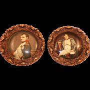 Vintage Pair Of Celluloid Napoleon Portraits Framed