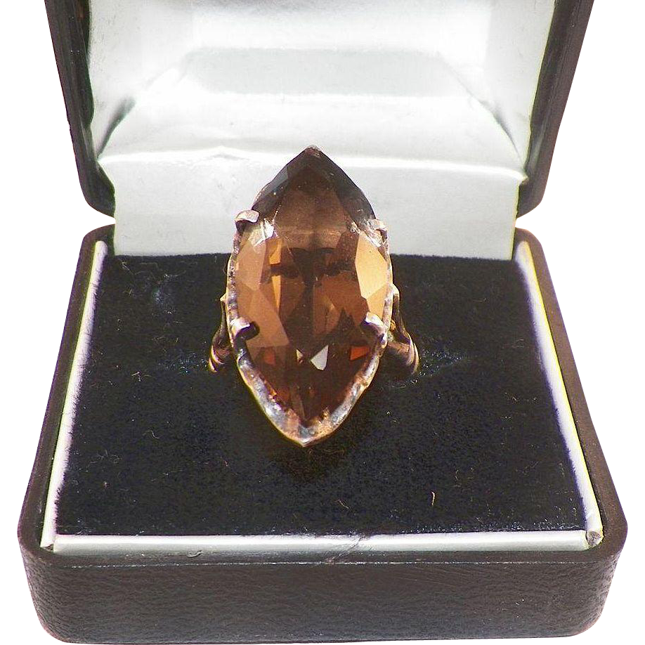 Vintage Large Marquis Cut Smoky Quartz and Sterling Ring 7.5