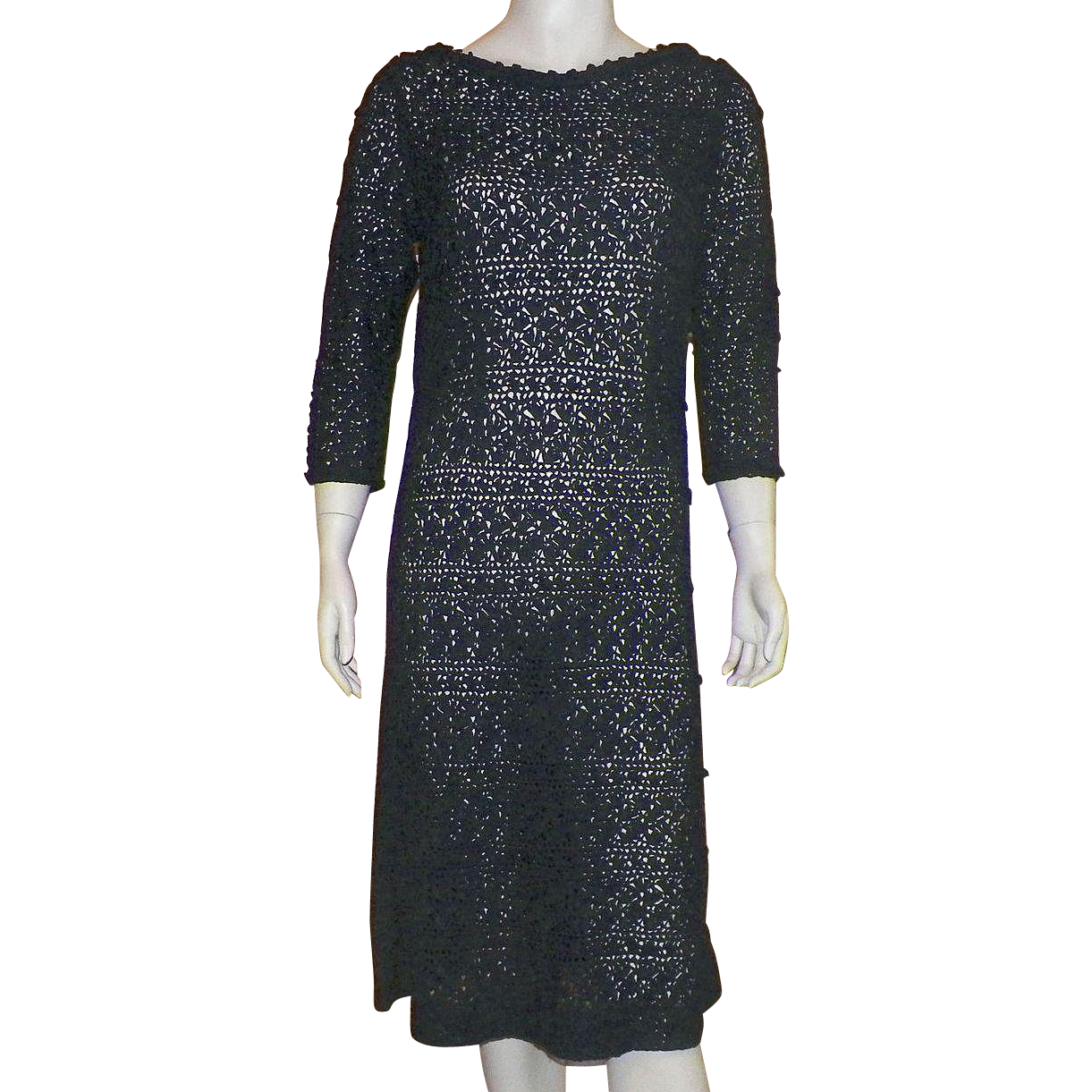 Vintage 1960s Black Ribbon Dress Bergdorf Goodman