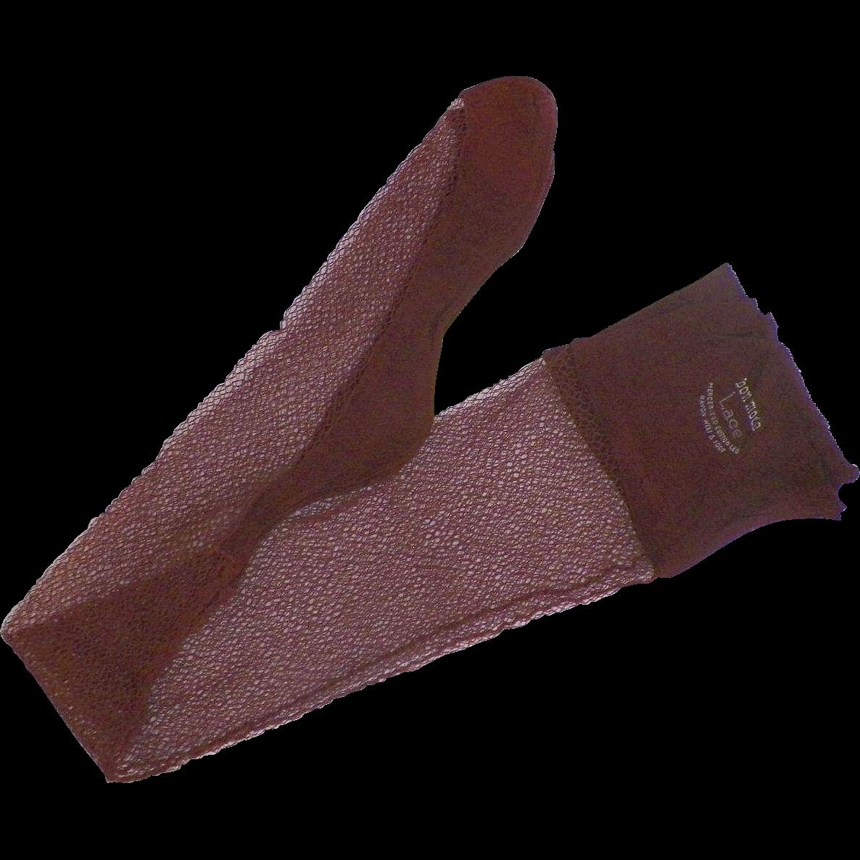 Vintage Bon Mode Cotton Lace Stockings With Seams