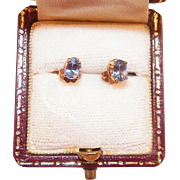 Vintage 14K Gold Ceylon Sapphire Pierced Earrings