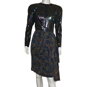 1980's Stanley Platos Sequin and Paisley Silk Backless Dress