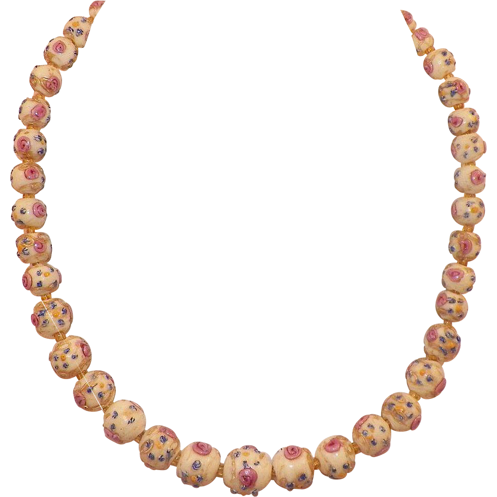 Vintage Italian Wedding Cake Bead Necklace