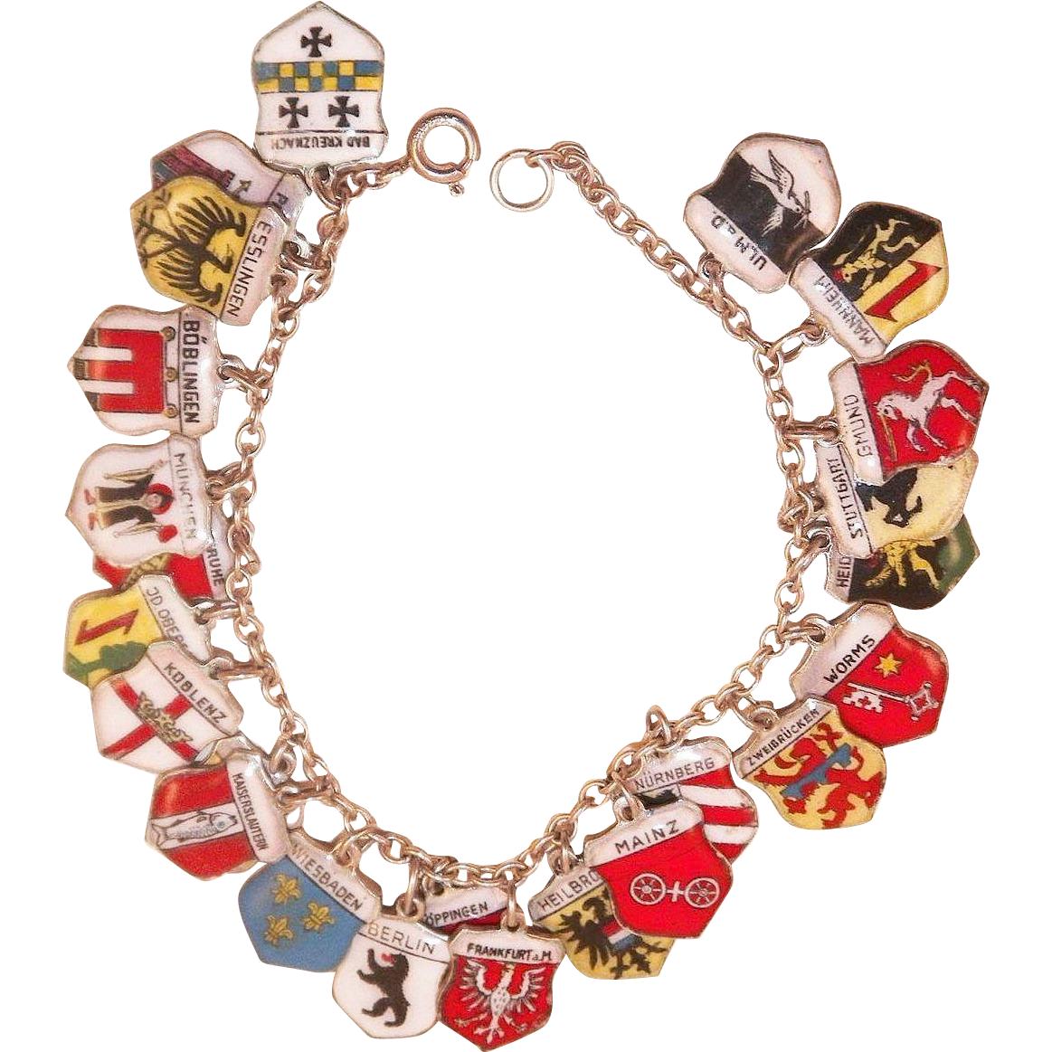 Vintage Sterling and Enamel Germany Travel Charm Bracelet