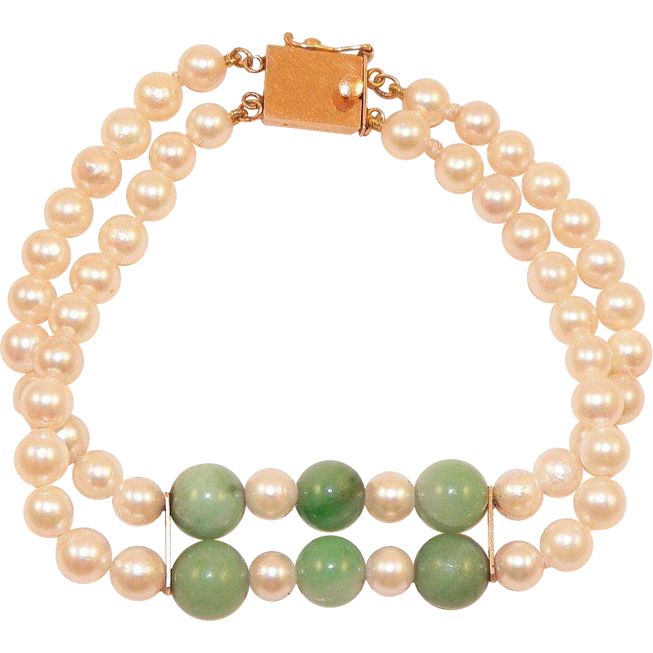 14K Double Row Pearl and Jade Bracelet