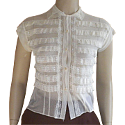 Vintage 1950's Sweet Ivory Nylon Blouse By Jami Originals