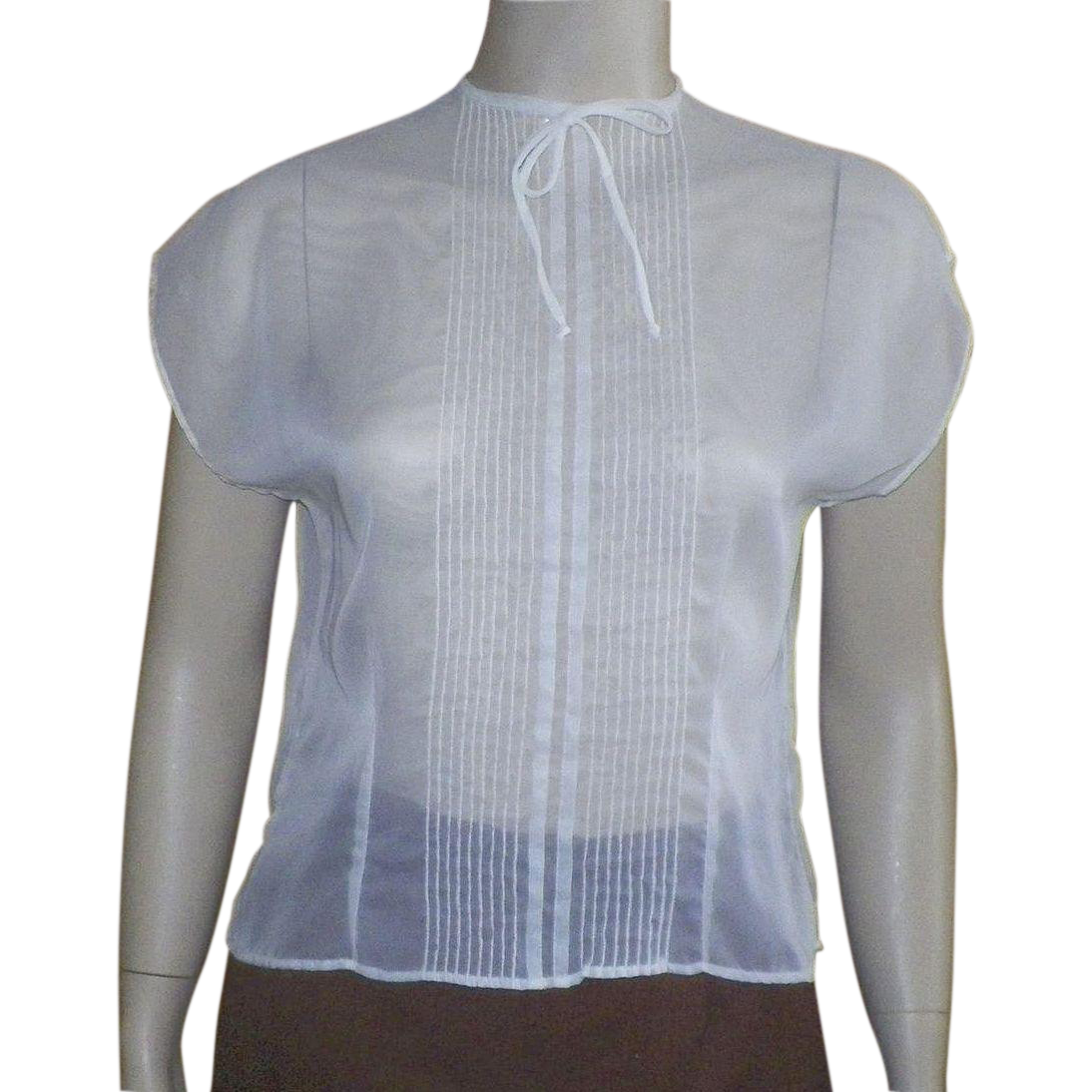 Vintage 1950's Sheer White Nylon Blouse By Baar and Beards Inc.