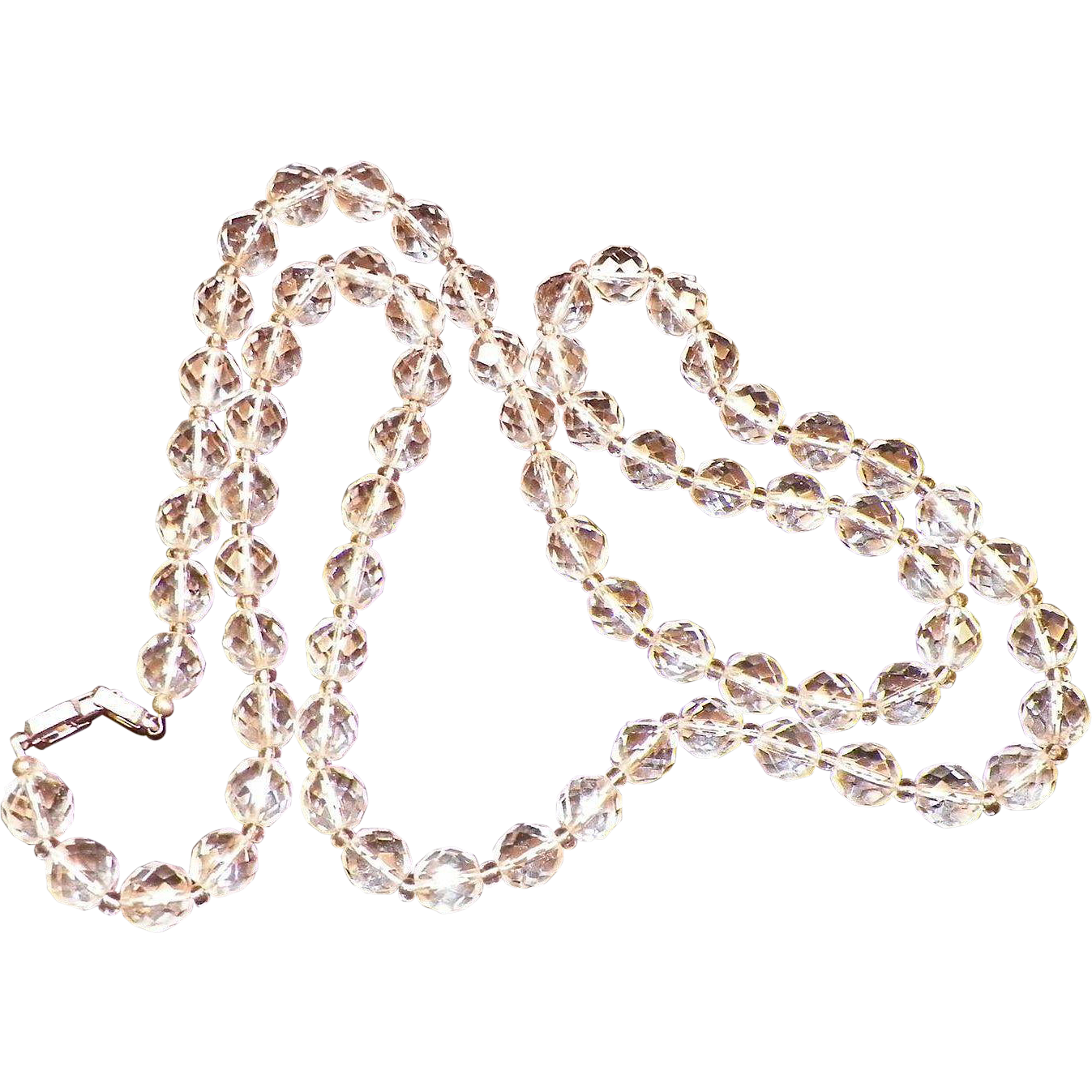 Vintage Givenchy Single Strand Faceted Clear Crystal Necklace