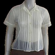 Vintage 1950's Yellow Nylon Short Sleeve Blouse