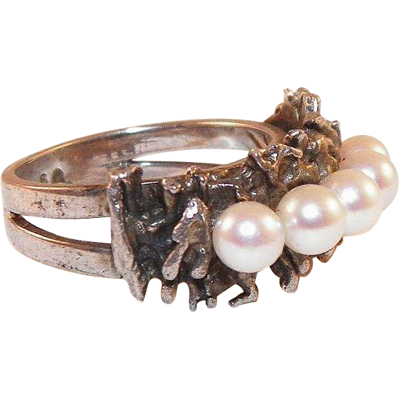 Mikimoto Sterling Pearl Brutalist Ring