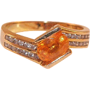 10K Yellow Gold Citrine and Diamond Ring