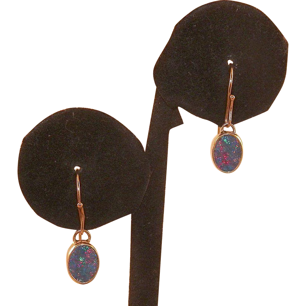 10kt yellow gold opal drop earrings from karensfinds on