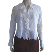 Edwardian Hand Made White Cotton Blouse / Waist With Ruffle