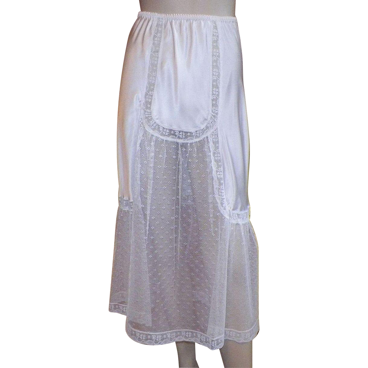 1980's Guy Laroche White Silk Half Slip / Skirt With Netting