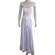Vintage 1930's Peach Rayon Bias Cut Nightgown With Ecru Lace