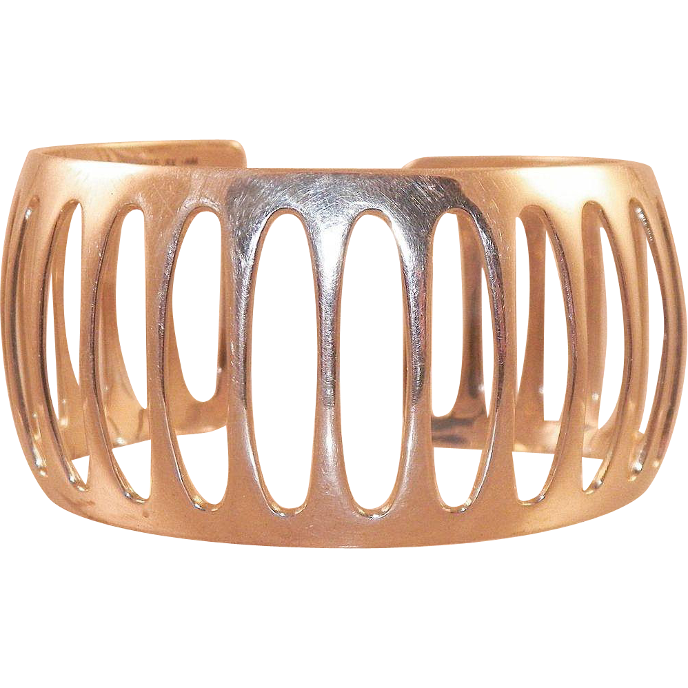 Sterling Silver Pierced Design Cuff Bracelet