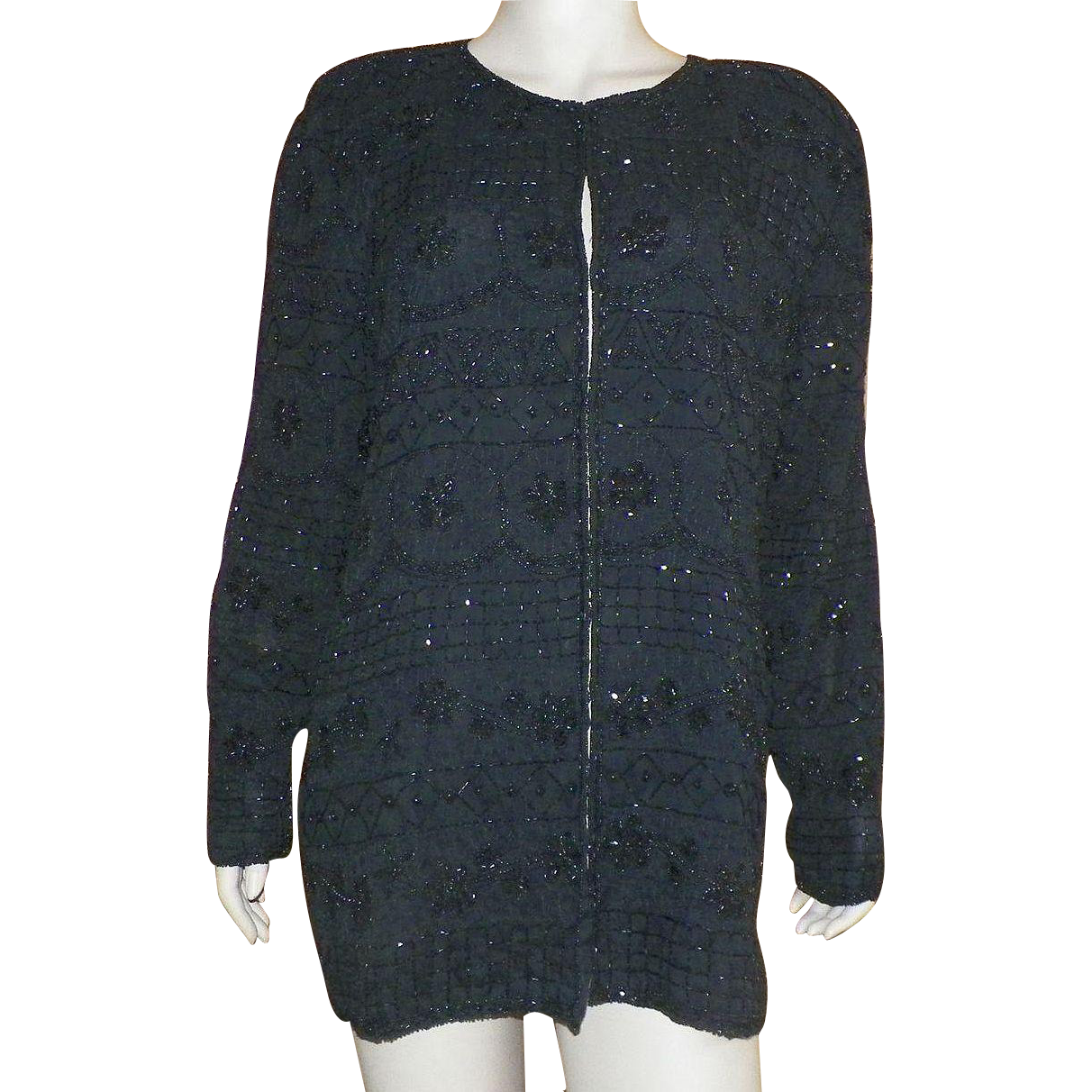 Vintage 1980's Embroidered Black Beaded Evening Jacket Larger Size