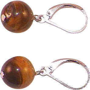 Sterling Silver Tiger Eye Drop Earrings