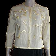 Vintage 1960's Yellow Wool Satin Beaded Cardigan Sweater By Dora Wong