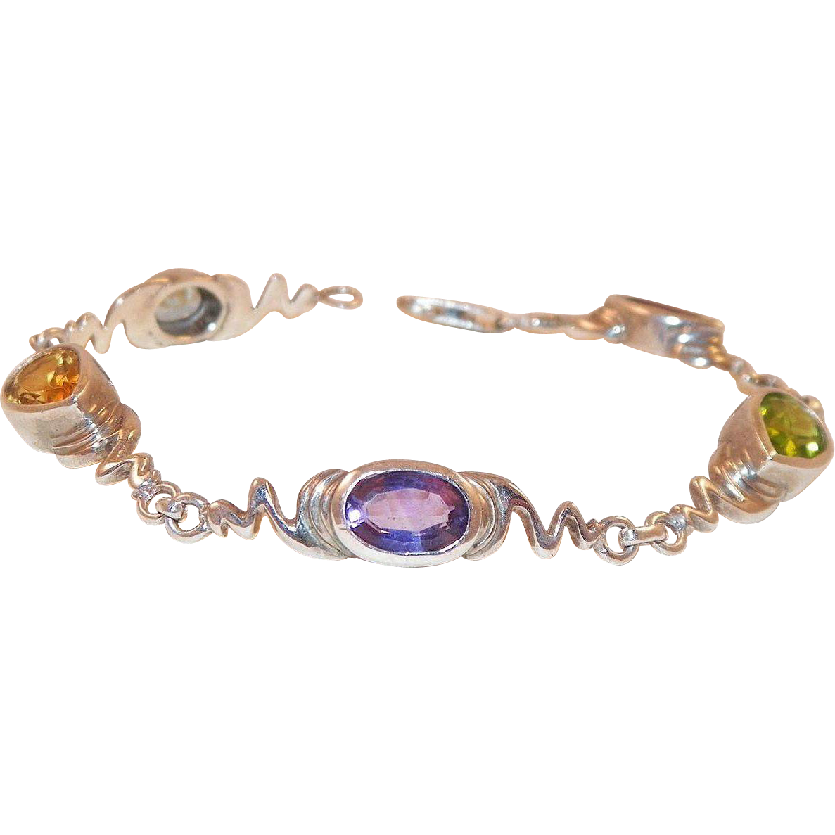 Artist Made Sterling Silver Semi-Precious Gemstone Bracelet