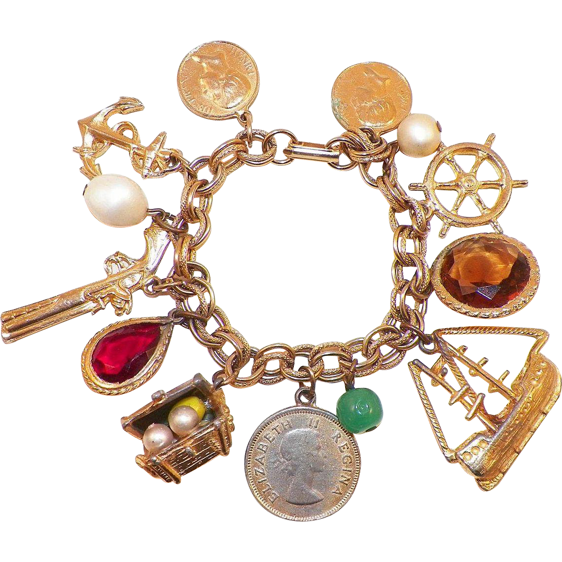 Vintage Whimsical Costume Charm Bracelet