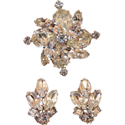 1940's Albert Weiss New York Clear Rhinestone Tiered Pin and Earrings