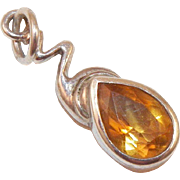 Artist Made Pear Shaped Citrine and Sterling Pendant