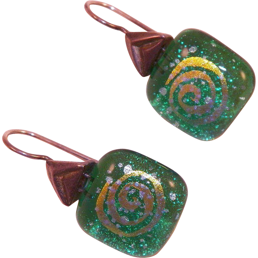 Vintage Green Dichroic Glass Pierced Earrings