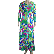 Vintage 1970's Nylon Tropical Print Lounging Dress/Robe