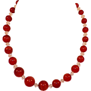 Vintage Dyed Agate and Crystal Bead Necklace