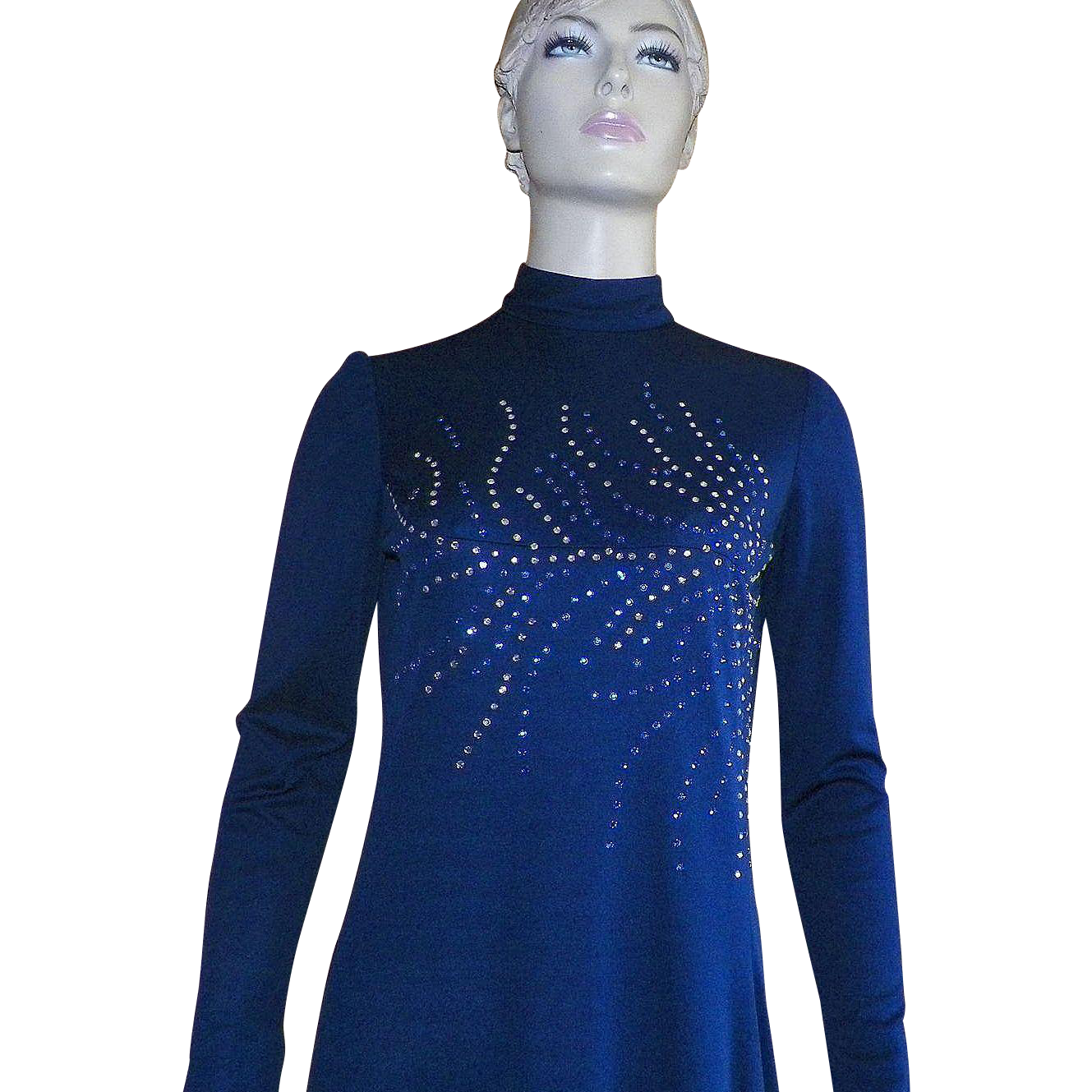 Vintage 1970's Felix Abreo Navy Evening Gown With Rhinestones