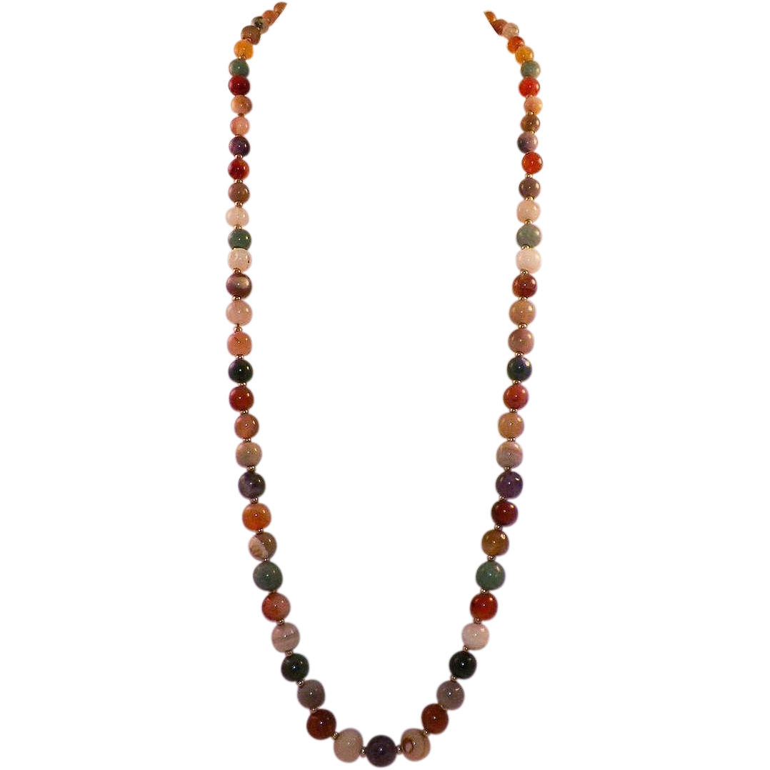 Necklace With Natural Semi-Precious Gem Stone Beads