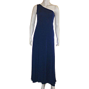 1970's Mollie Parnis Boutique Navy Silk Jersey One Shoulder Dress