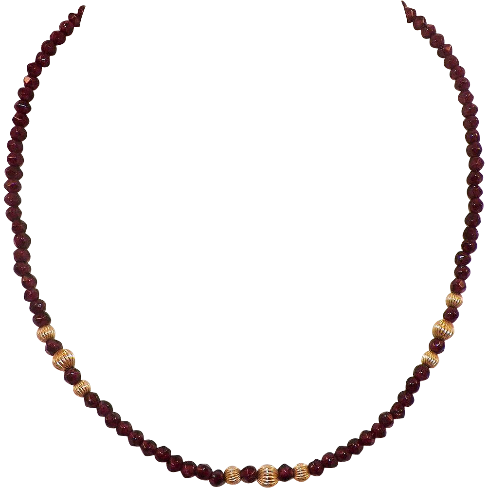 Vintage Garnet Bead Necklace With Gold Plated Spacers